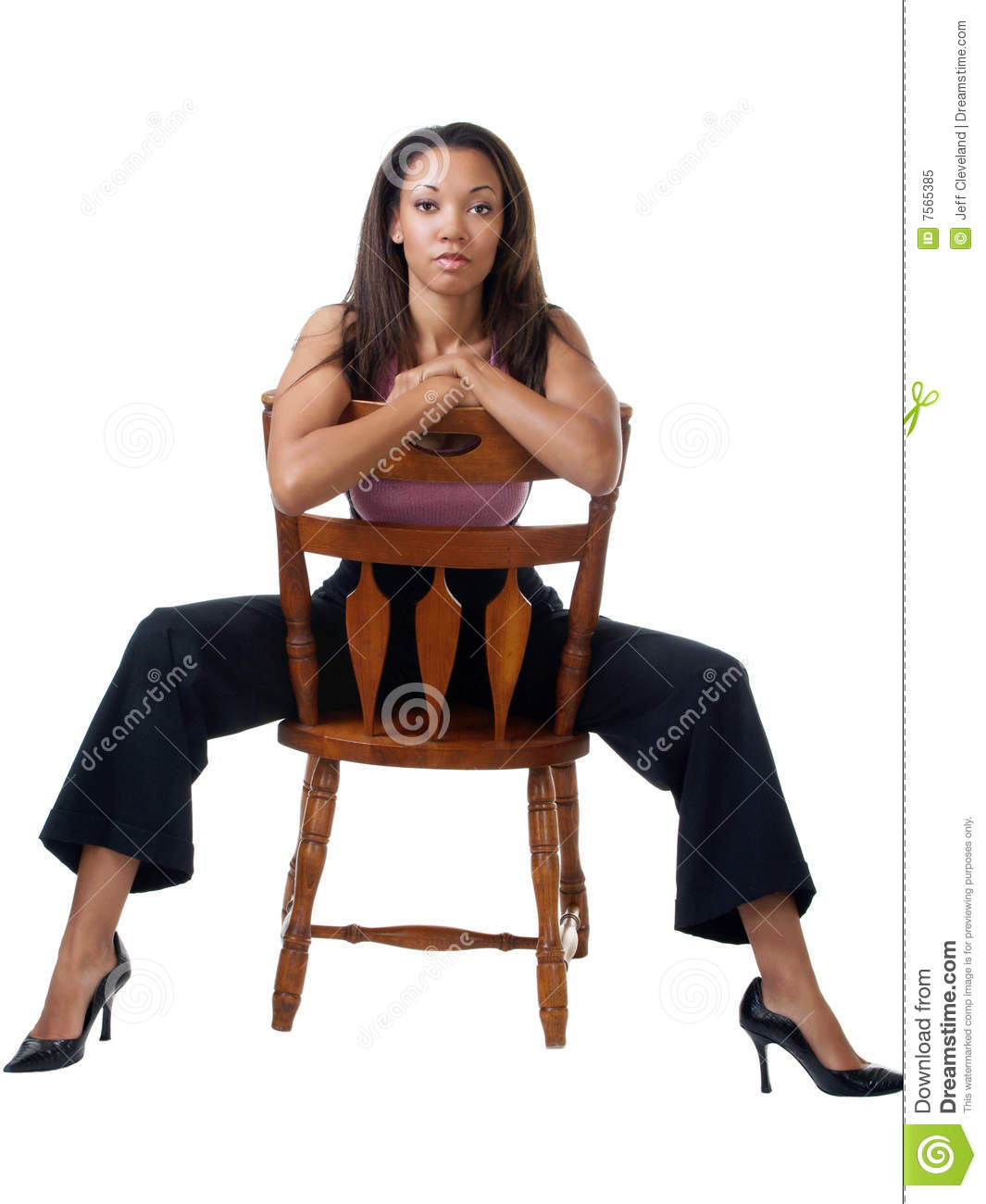 Chair Pants Young Black Woman Staddling Chair In Pants Outfit Stock Image