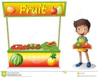fruits boy fruit selling clipart seller young background illustration clip cartoon stall drawing vector graphic