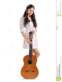 Young Beautiful Brunette Girl With Acoustic Guitar Stock