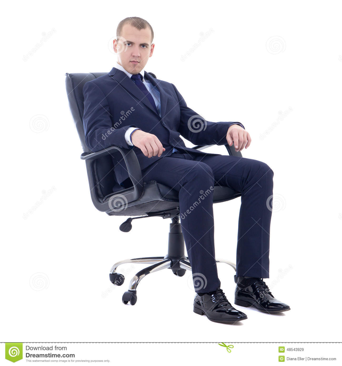 Office Sitting Chairs Young Business Man Sitting On Office Chair Isolated On