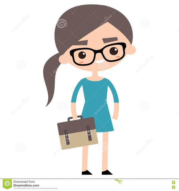 Young Business Woman With Briefcase Stock Vector