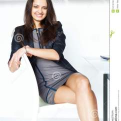 Office Chair With Leg Rest Simply Cool Rigby Accent And Ottoman Young Business Woman Sitting On A Royalty Free Stock Images - Image: 34740739
