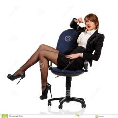 Woman Sitting In Chair Plastic Patio Chairs Lowes Young Business Office Stock Image