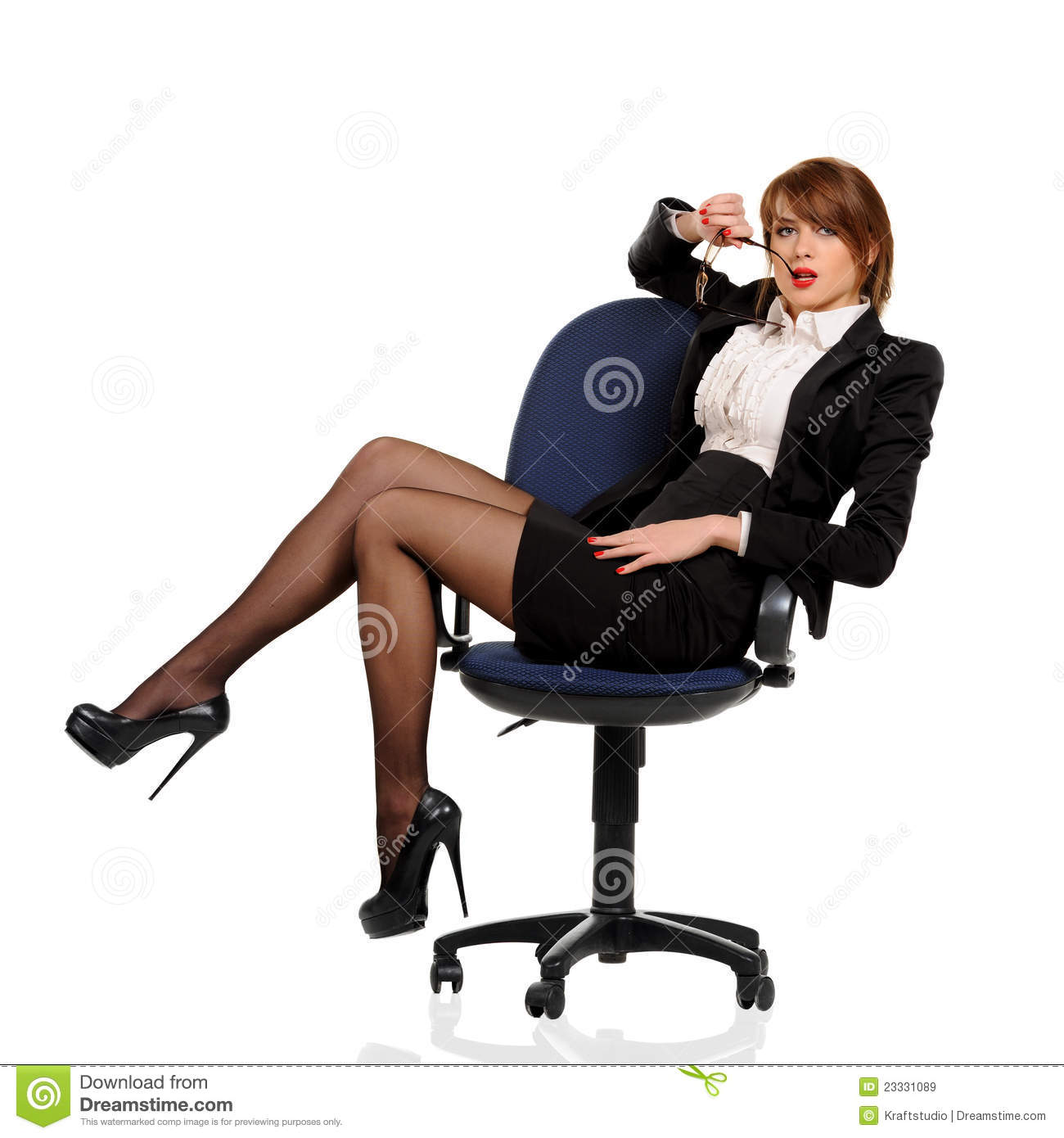 Office Sitting Chairs Young Business Woman Sitting In Office Chair Stock Image