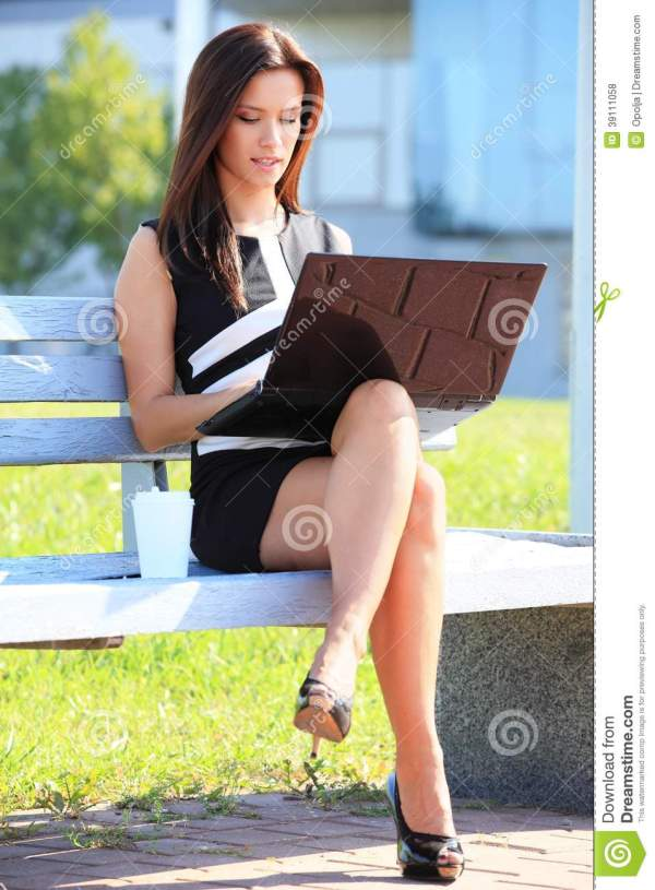 Young Business Woman Sitting Park Bench Stock