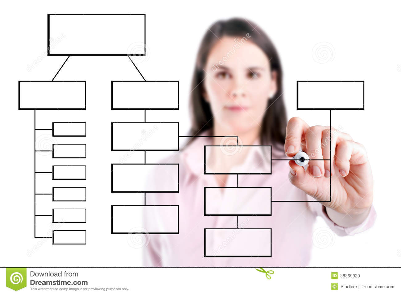 hight resolution of young business woman writing process flowchart diagram on screen isolated