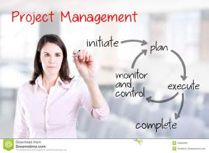 Young Business Woman Writing Project Management Workflow Office Background Stock Image  Image