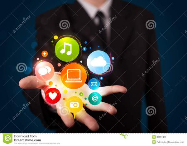 Young Businessman Presenting Colorful Technology Icons