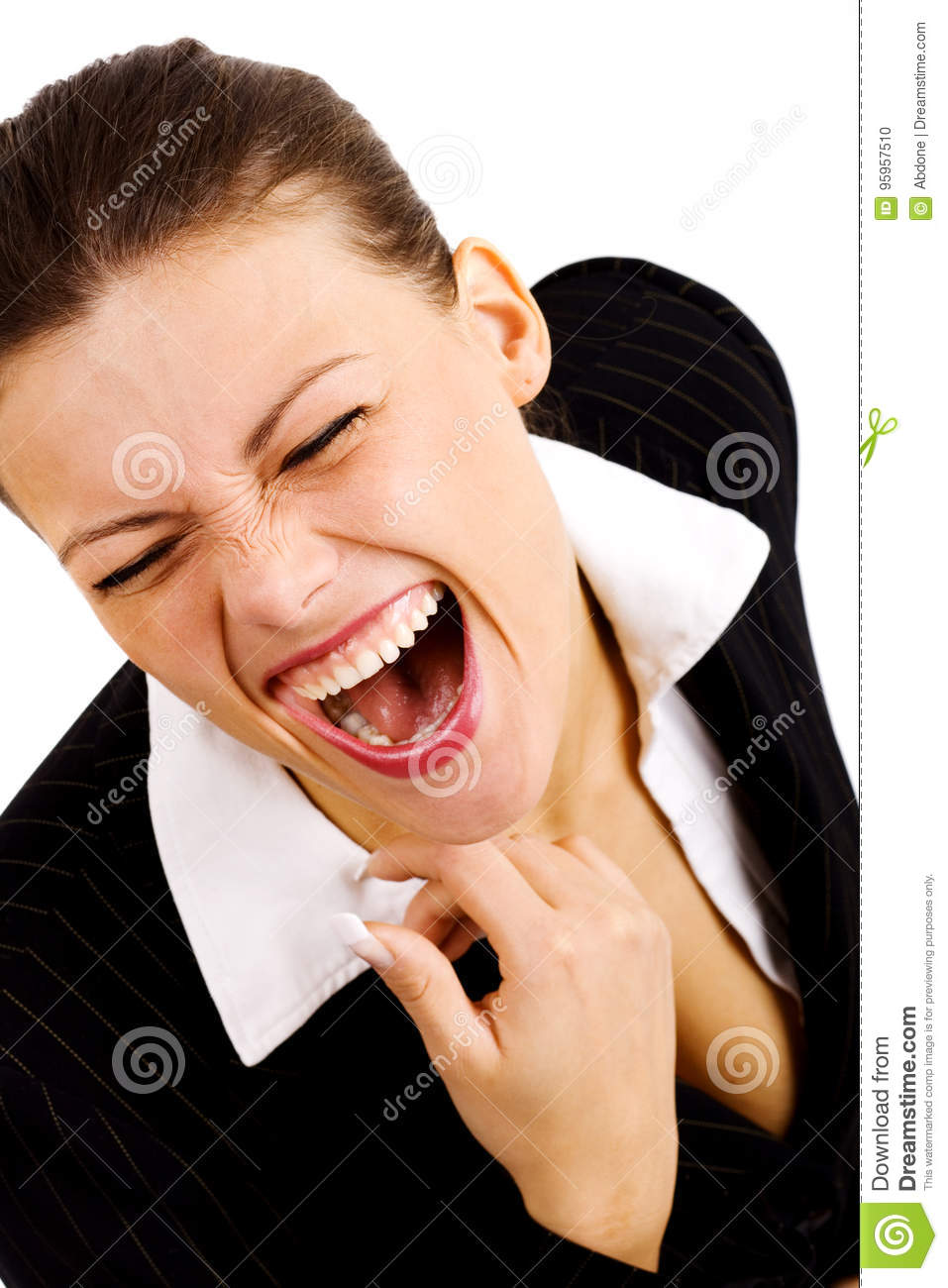 Image Of Laughing Hysterically : image, laughing, hysterically, Young, Businesswoman, Laughing, Hysterically, Stock, Photo, Image, Background,, Businesswoman:, 95957510