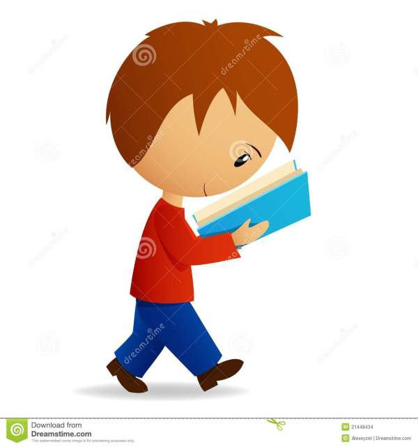 Young Cartoon Male Student Walking And Reading Stock Vector - Illustration Of Shadow Little