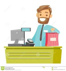 cashier shopping checkout bag clipart caucasian handing male cartoon giving purchase young vector dreamstime standing preview background illustrations vectors