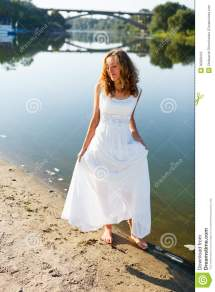 Young Cheerful Girl Bride Walk Barefoot Sunny Coast Of