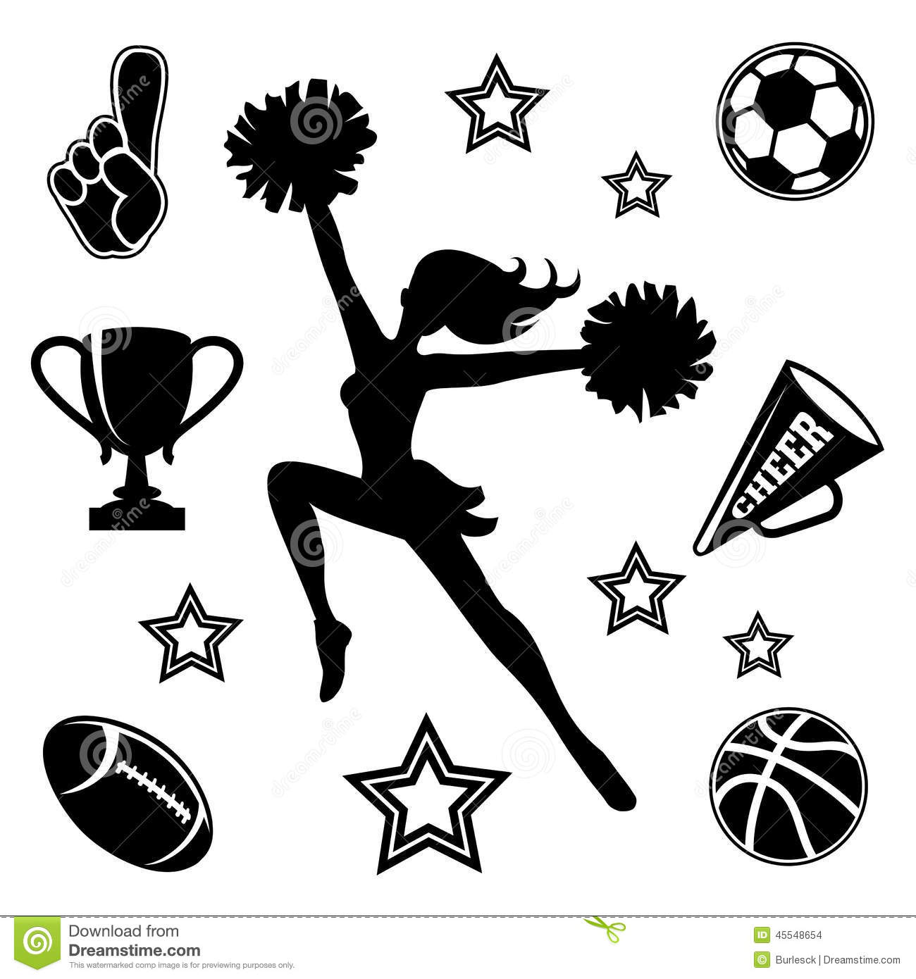 Young Cheerleader With Associated Icons Stock Vector
