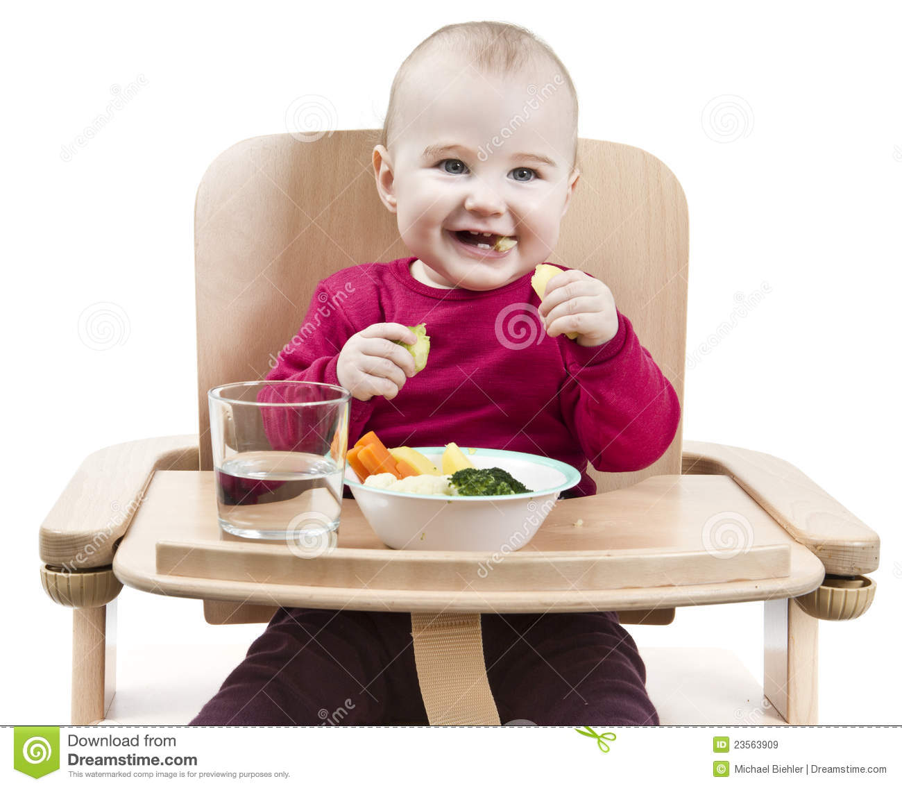Baby Food Chair Young Child Eating In High Chair Royalty Free Stock Images