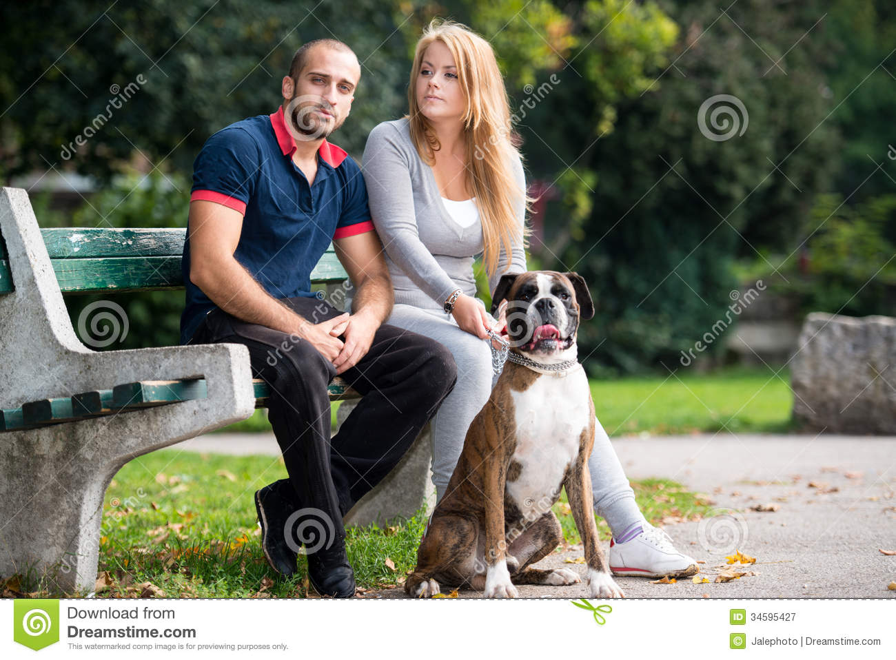Young Couple With Dog Stock Image Image Of Adult German