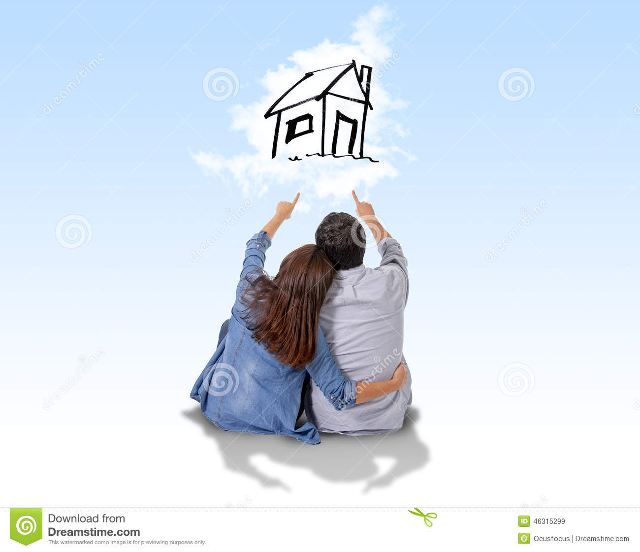 Young Couple Dreaming And Imaging Their New House In Real