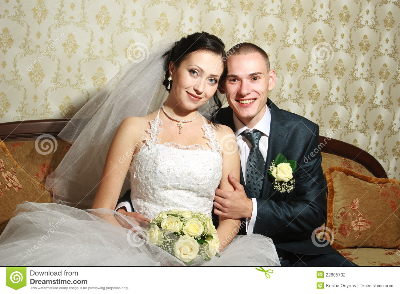 Young Couple Married In The Wedding Room Stock Photo