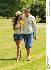 Couple Walking Barefoot
