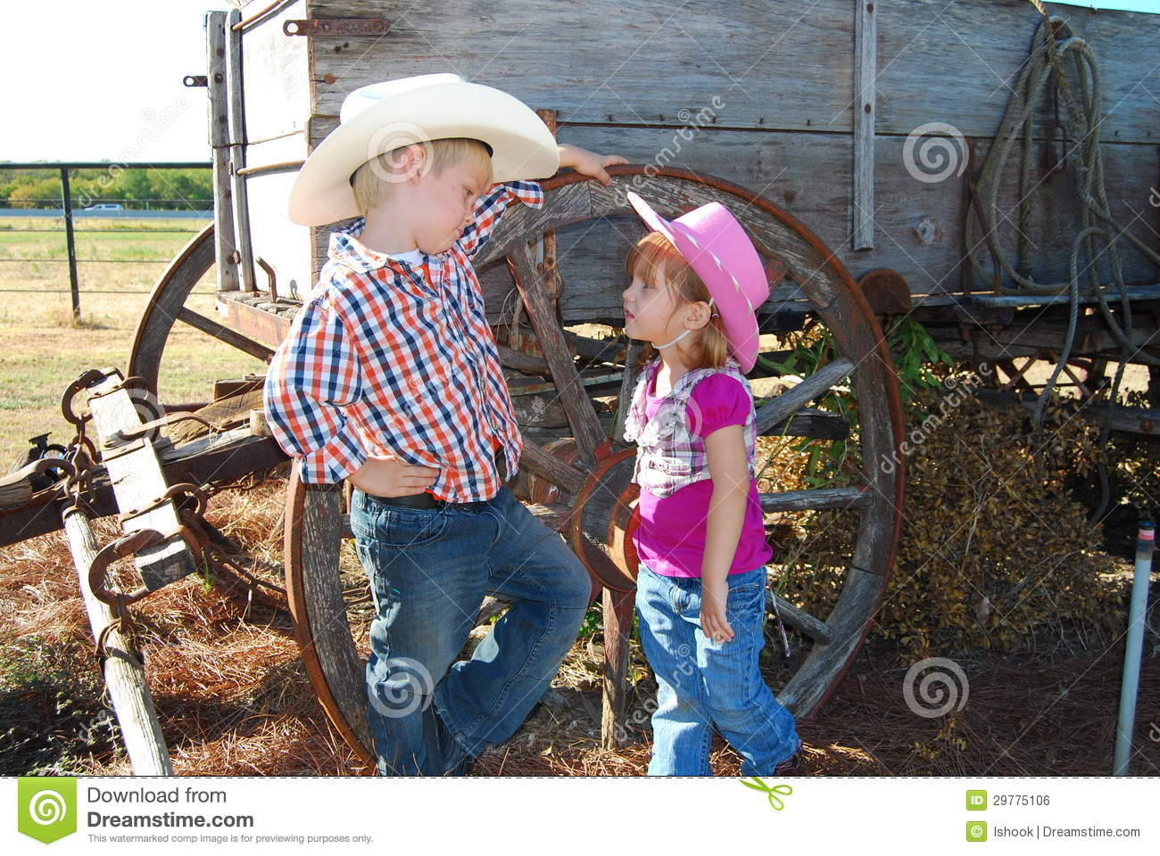 Child Cowboy And Cowgirl Royalty Free Stock Image