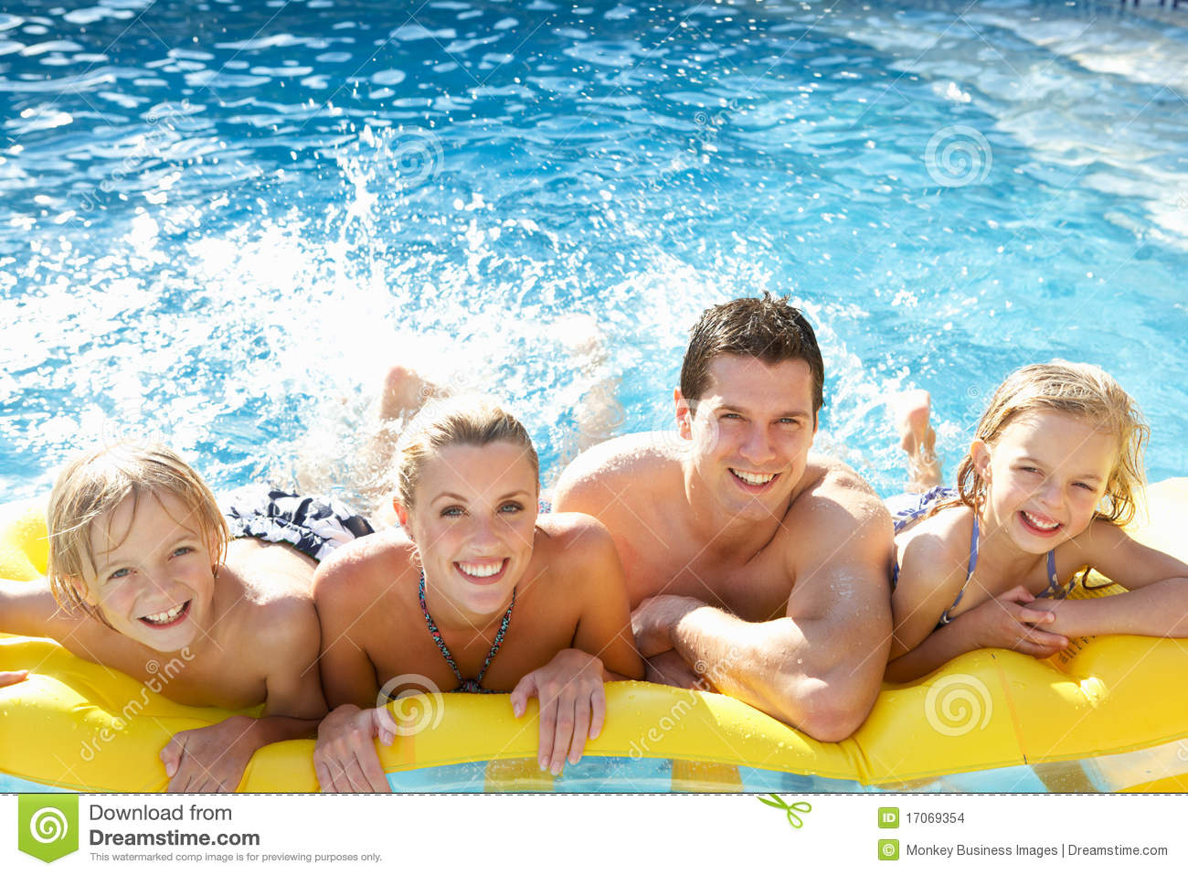 Young Family Having Fun Together In Pool Stock Photo - Image of girl. exterior: 17069354