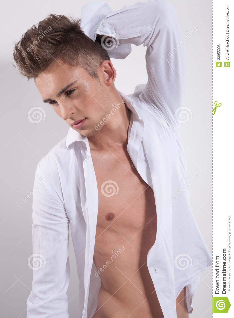 Young Fashion Man Looking Down Stock Photo Image Of Hair