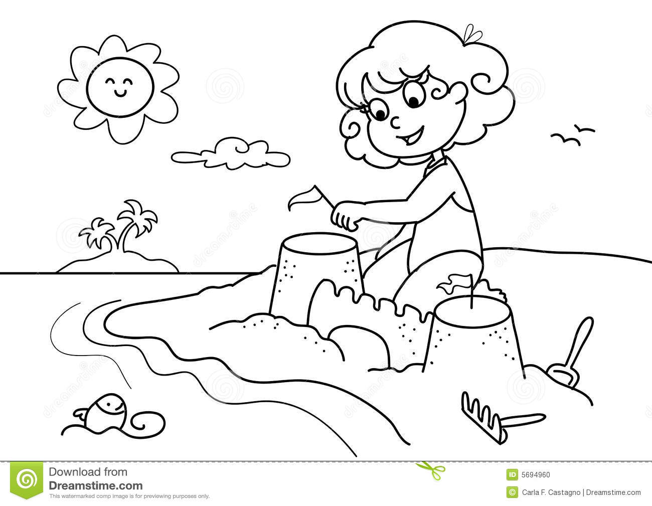 Young Girl At The Beach Bw Stock Vector Illustration Of