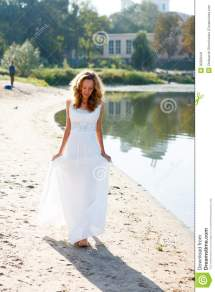 Young Girl Bride Walk Barefoot Sunny Coast Of