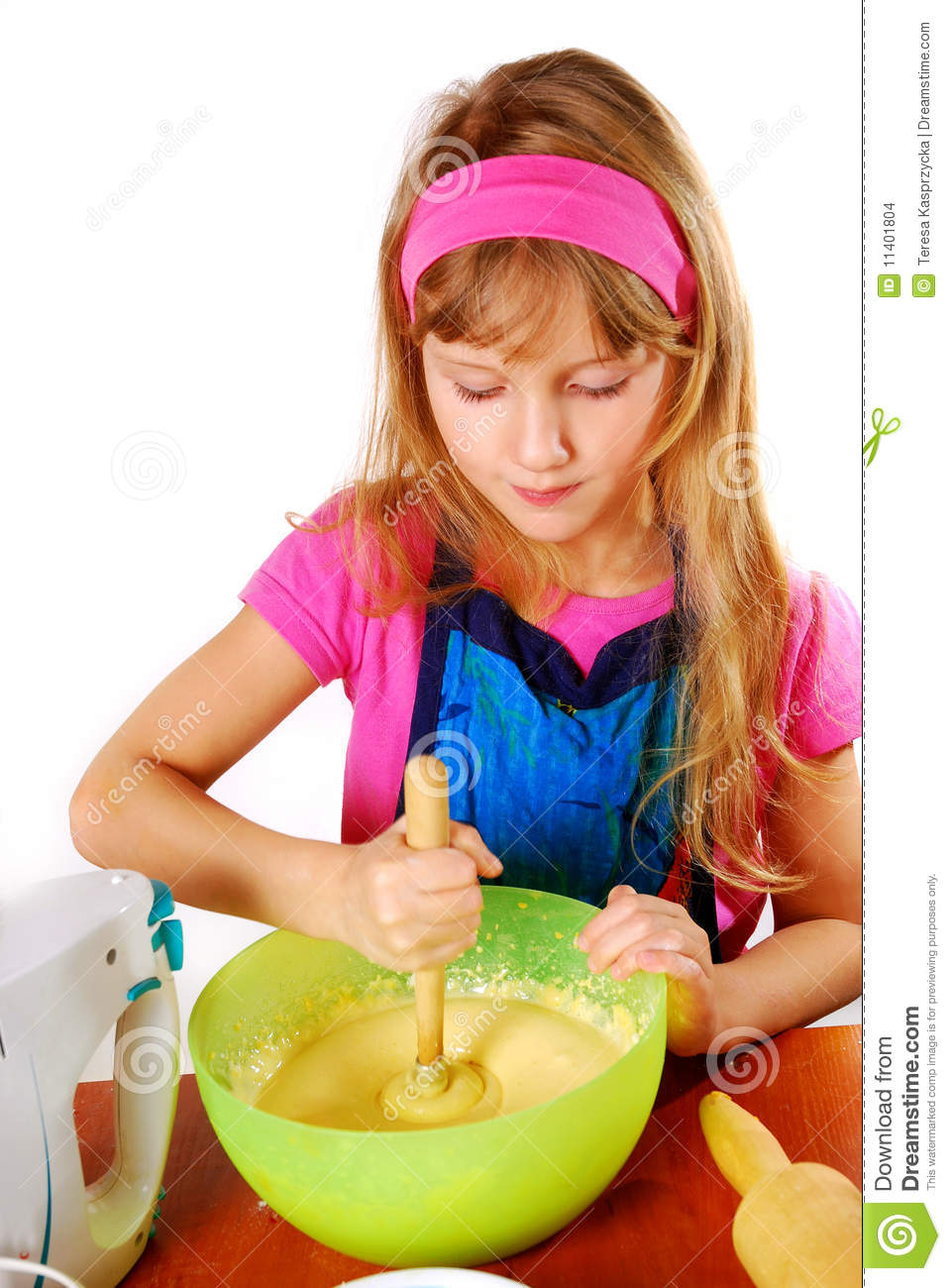 Young Girl Helping In Baking Cake Stock Images Image