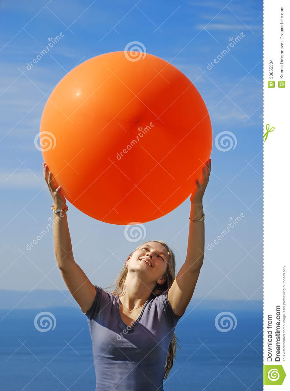 A Girl Holding Big Balloon Stock Images Image 30055334