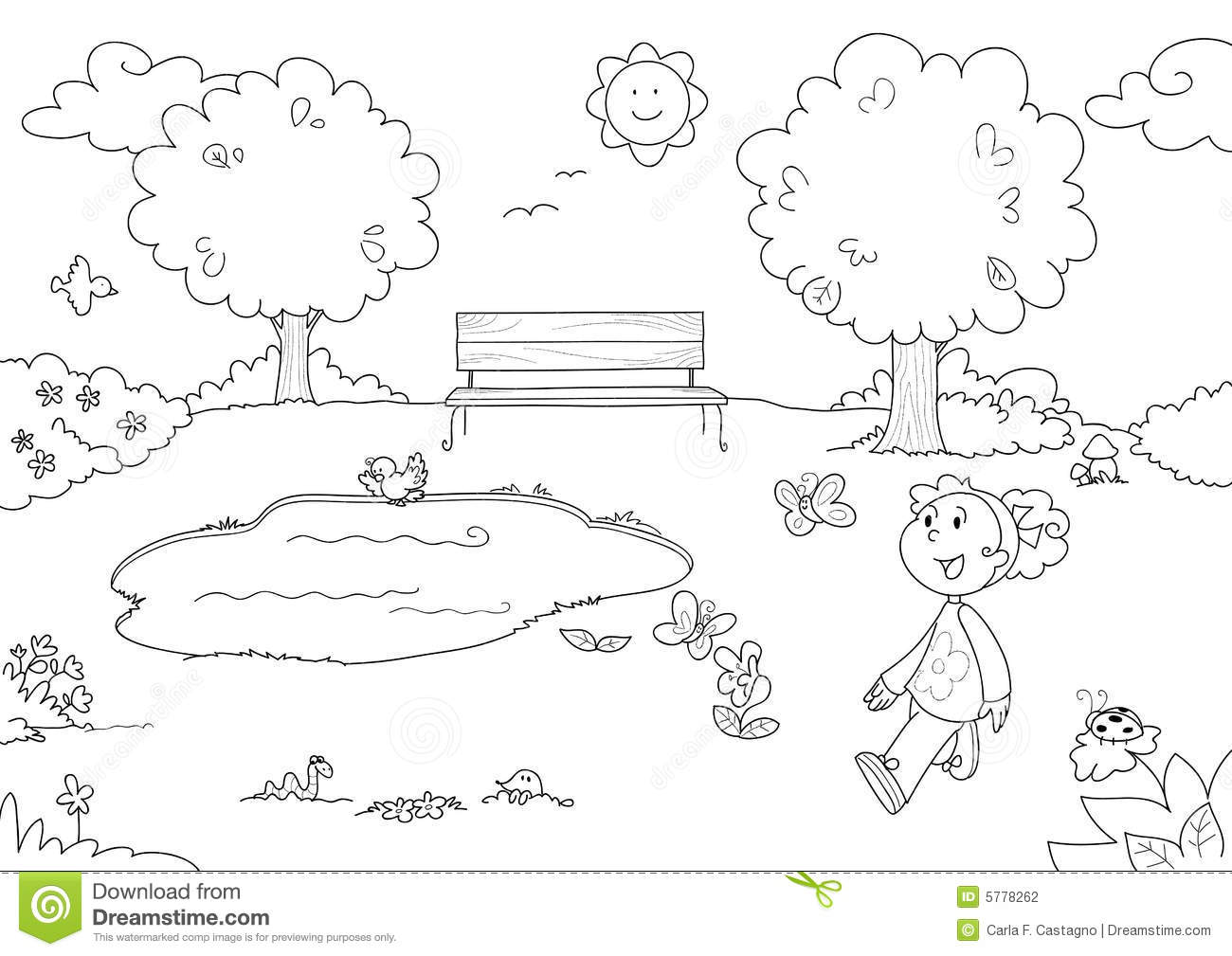 Coloring Young Girl In The Park Stock Vector