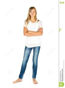 Young Girl Standing With White T-shirt And Blue Jeans Over