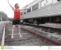 Girl Train Stock - Royalty Free