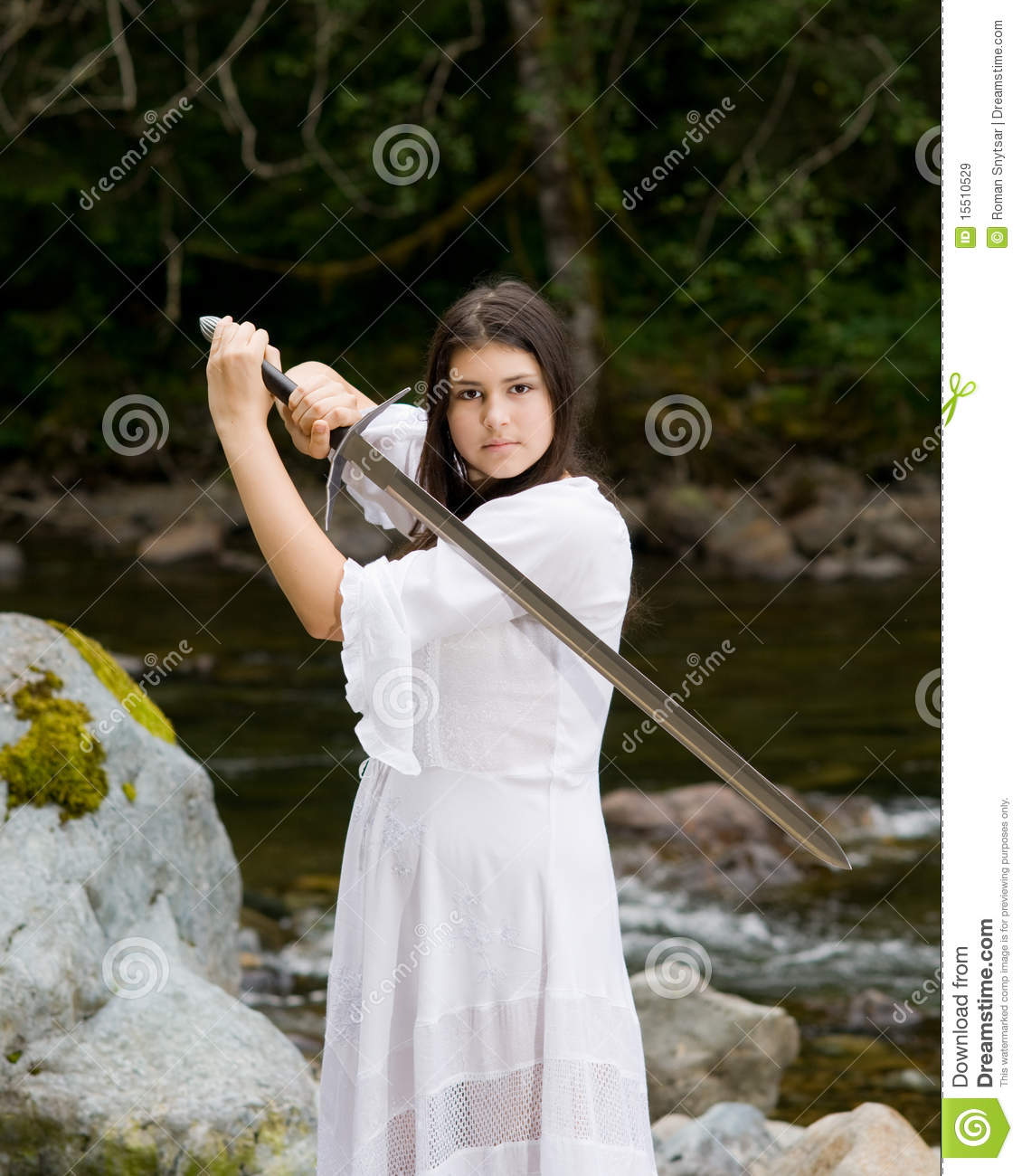 Japn Girl Sword Wallpaper Young Girl In White Dress With Two Handed Sword Royalty