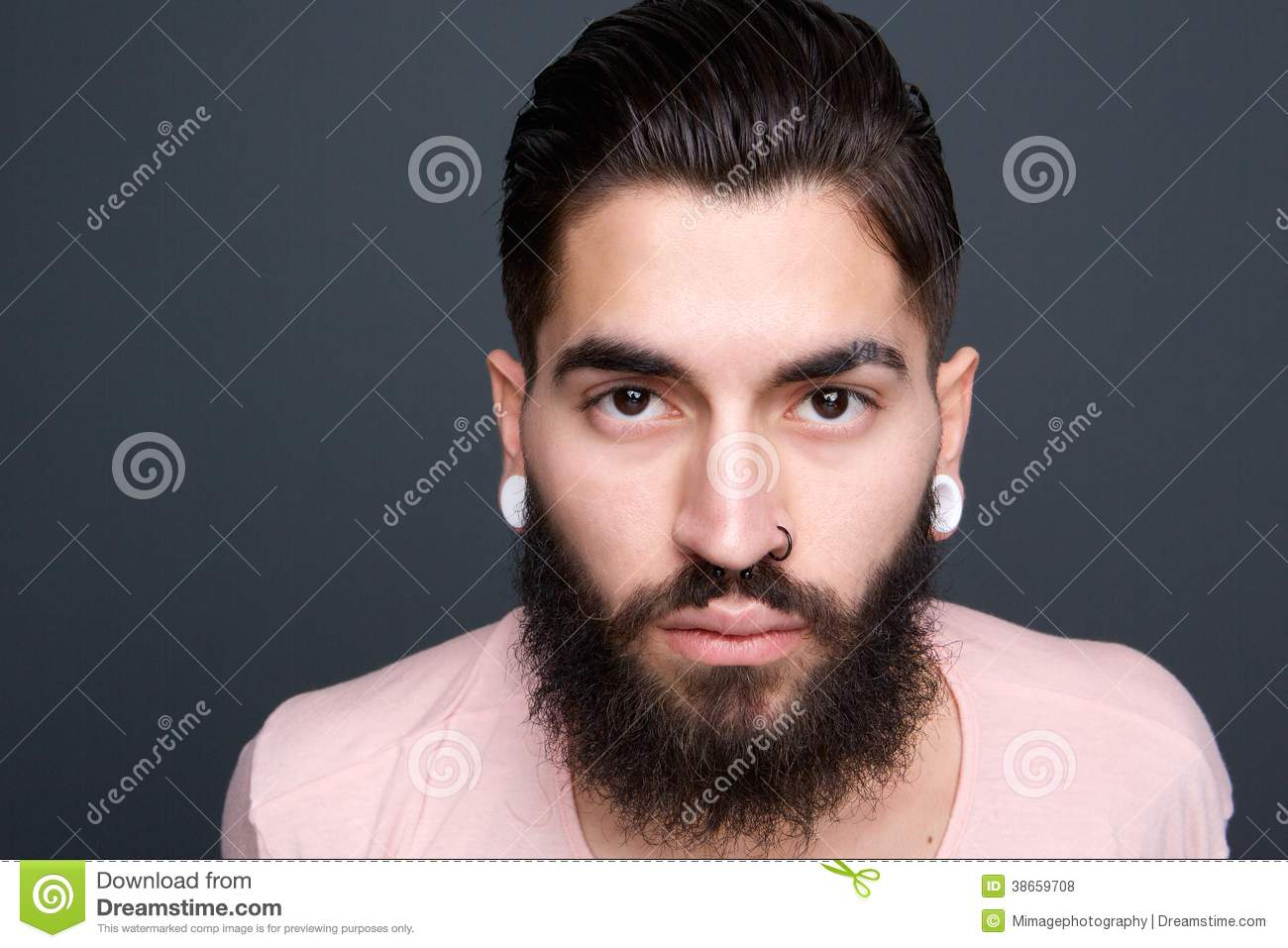 Young Guy With Beard And Piercing Stock Photo Image