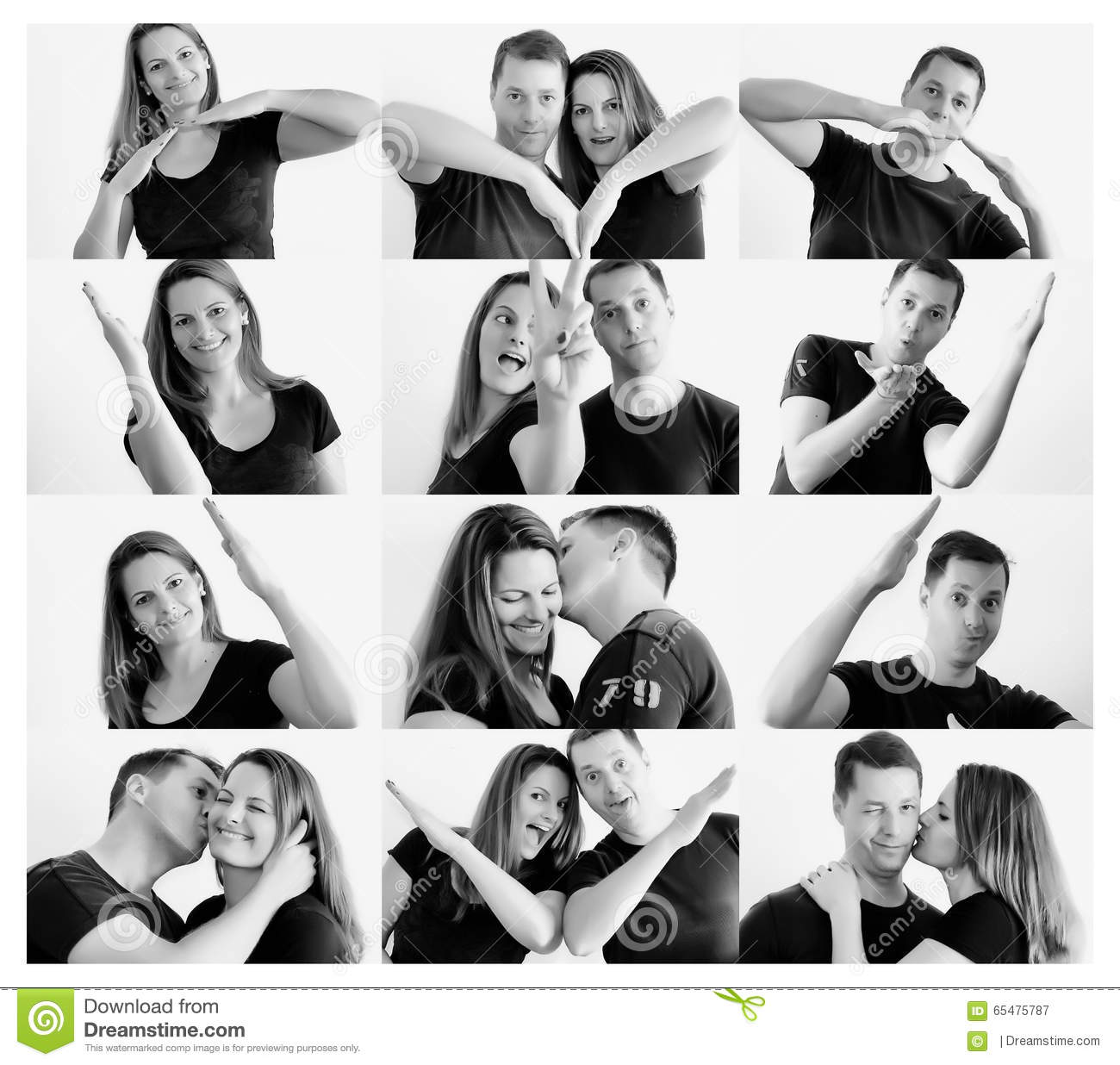 Young Happy Couple Making Heart Shape With Arms Stock