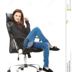 Woman Sitting In Chair Blue Resin Adirondack Single Happy Young On A Stock Image