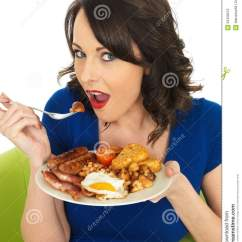 Adult Egg Chair Dining Fabric Young Happy Woman Eating A Full English Breakfast Stock Photo - Image: 52428219