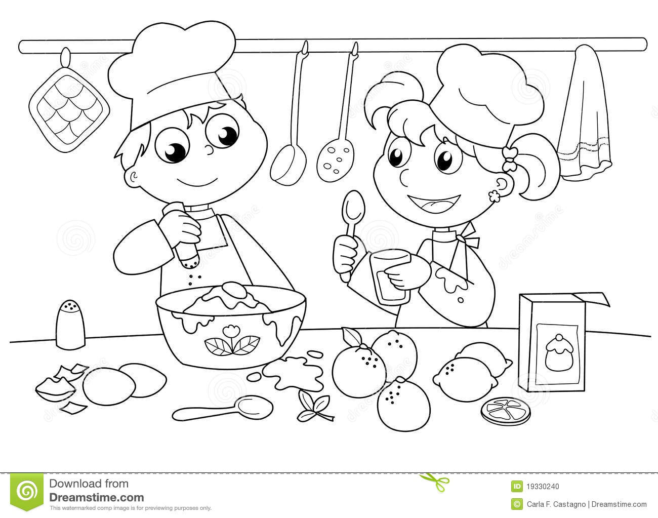 Young Kids Cooking Stock Vector Illustration Of Cook