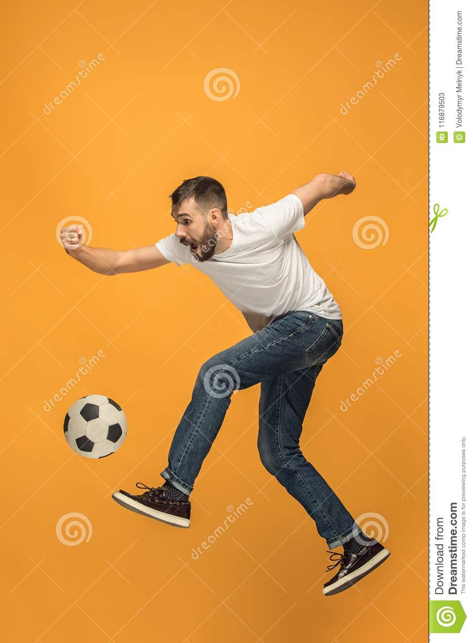 The kicker must not touc. The Young Man As Soccer Football Player Kicking The Ball At Studio Stock Image Image Of Person Adult 116879503
