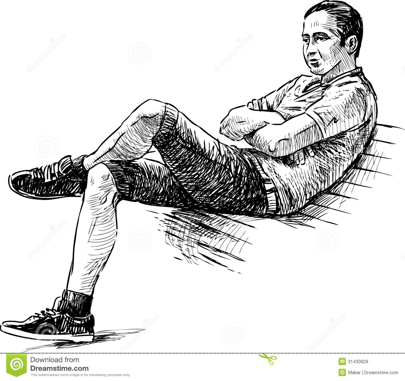 Young Man On A Bench Stock Vector Illustration Of Life