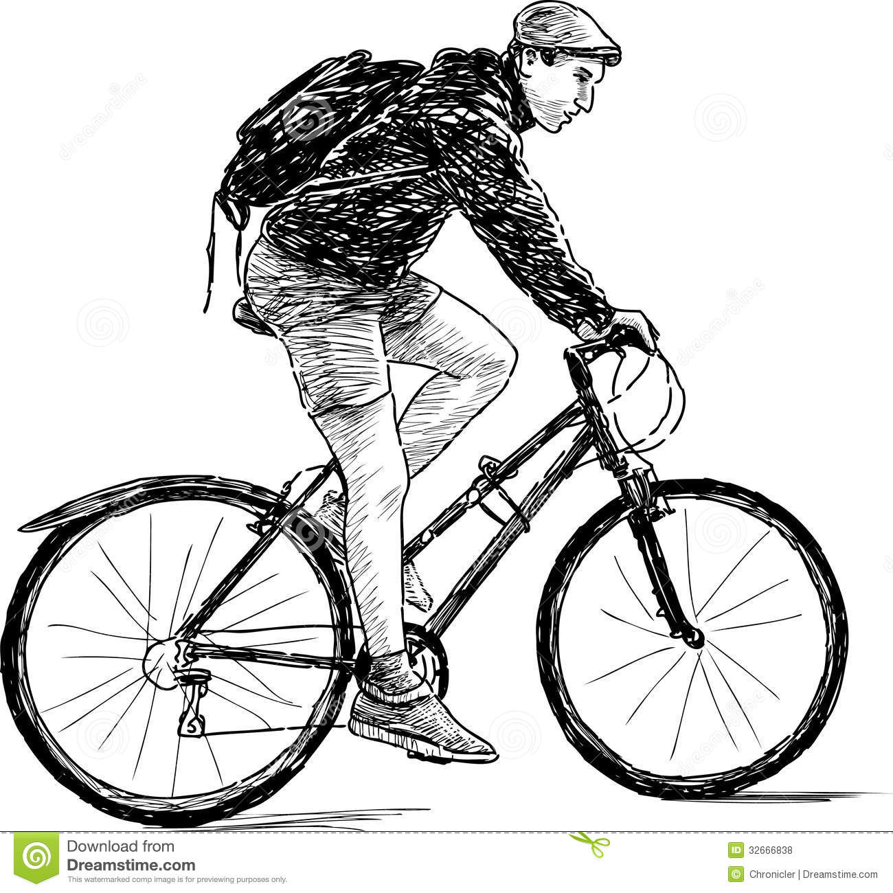 Young Man On Bicycle Stock Illustration Illustration Of