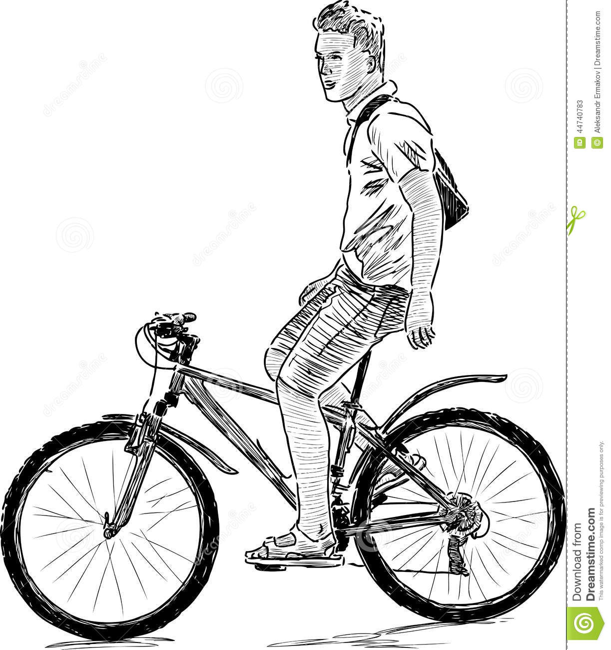 Young Man On The Bike Stock Vector Illustration Of Drawn