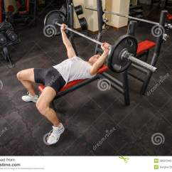 Gym Bench Press Chair Rocker Gaming Young Man Doing Workout In Stock Image