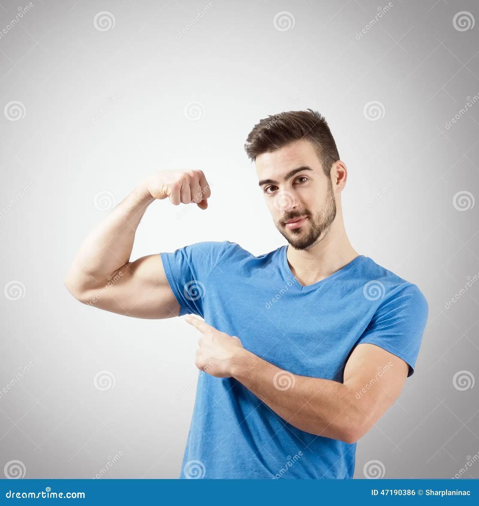 young man flexing biceps