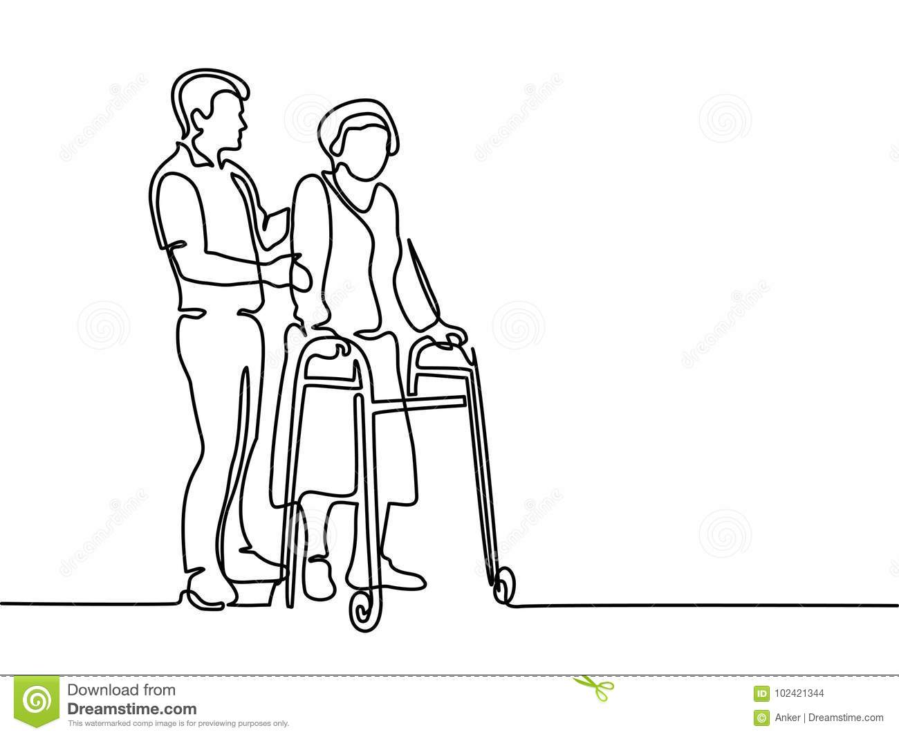 Young Man Help Old Woman Using A Walking Frame Stock
