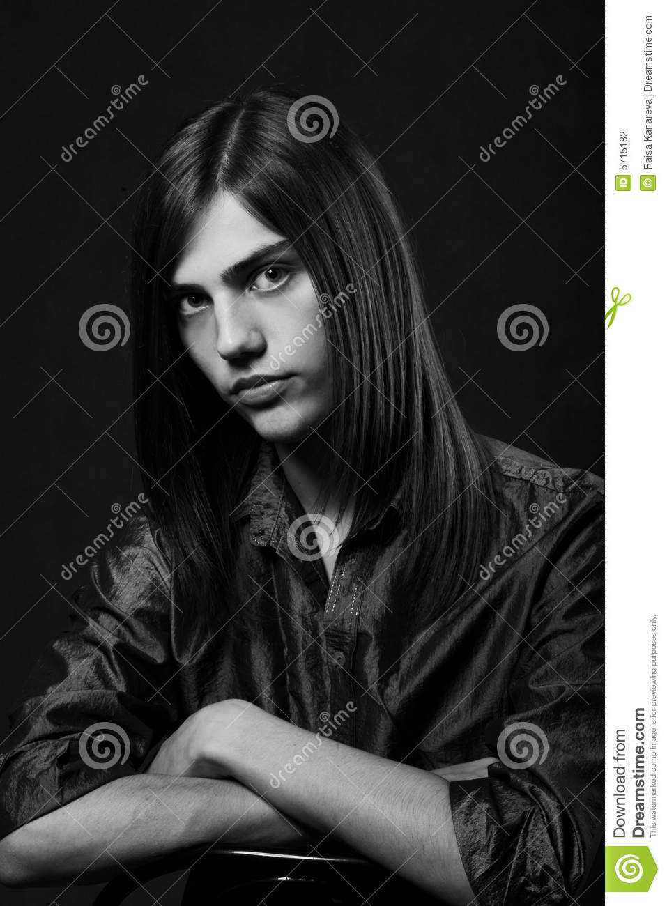 Young Man With Long Hair Stock Photo Image Of Person