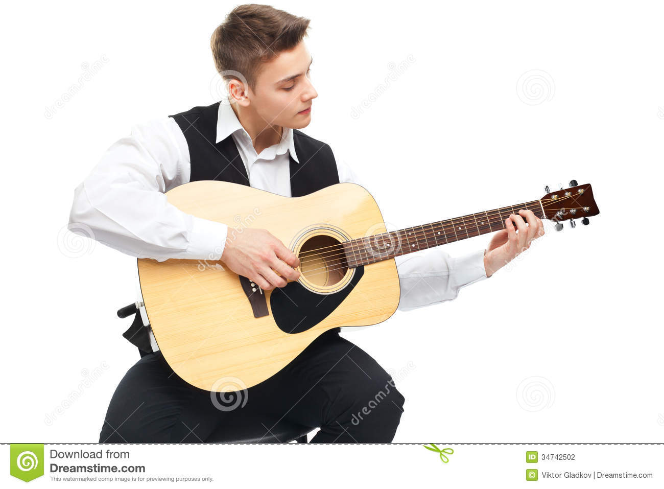 guitar playing chair rocker x gaming young man holding acoustic stock photo