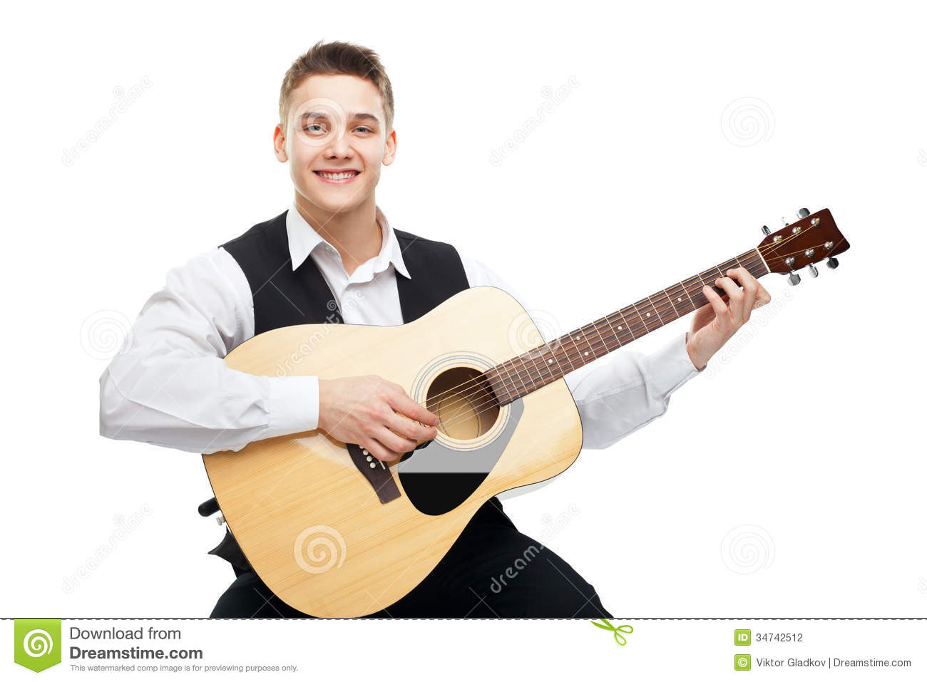 guitar playing chair wicker desk and young man on acoustic stock photography