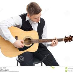 Guitar Playing Chair Repair Patio Chairs Straps Young Man On Stock Photography Image