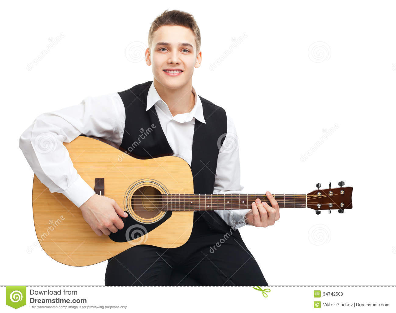 guitar playing chair baby rocker young man on royalty free stock photos